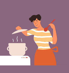 happy housewife open lid pan during cooking vector image