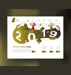 happy new year 2019 party website template vector image
