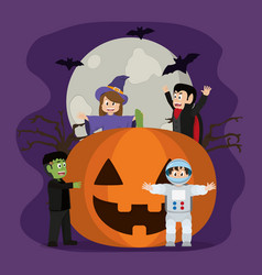 happy pumpkin with horror people and bats vector image