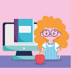 happy teachers day student girl online education vector image