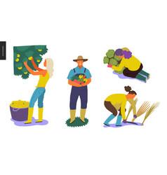 Harvesting people set vector