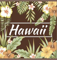 hawaii slogan tropical leaves hibiscus brown vector image