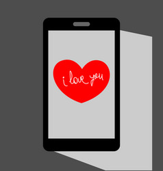 heart valentine on the mobile phone screen vector image