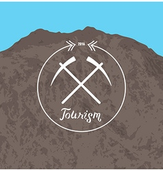 Hipster logo Summer camp concept with mountain vector image