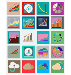 Icons with flat design elements of schedule vector image