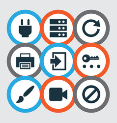 Interface icons set with video reload log in and vector