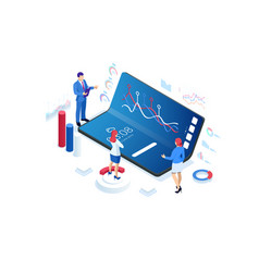 Isometric business and finance analysts analyzing vector