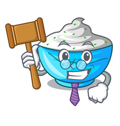 Judge bowl of sour cream on cartoon wooden table vector