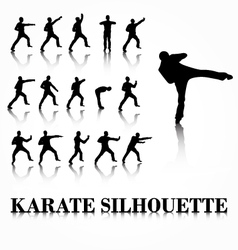 Karate silhouette move set vector