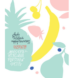 Latin calligraphic brush font with fruit vector