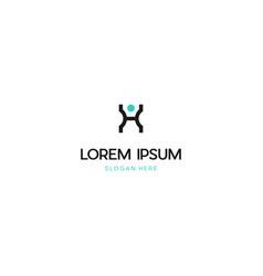 Letter h human people creative logo design vector