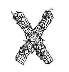 Letter X made from houses alphabet design vector