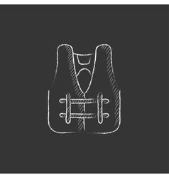 Life vest Drawn in chalk icon vector