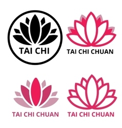 Logo tai chi lotus vector