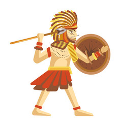 man in feathers hat with round shield and long vector image