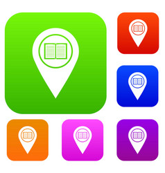 map pointer with book set color collection vector image