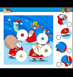 Match pieces puzzle game with santa claus vector