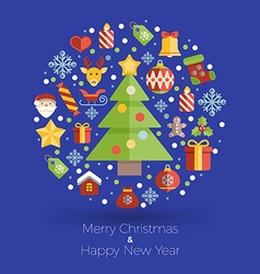 Merry Christmas and Happy New Year Flat Style with vector image