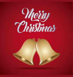 merry christmas card golden bells decoration vector image