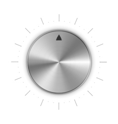Metal round knob with mark and scale divisions on vector