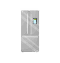 modern silver refrigerator with freezer flat vector image