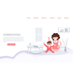 Mom play with kid homeschool stay at home concept vector