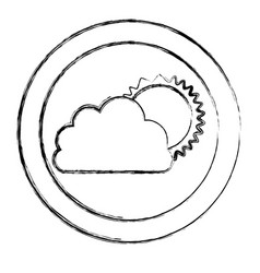 monochrome blurred circular frame with cloud and vector image