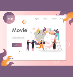 Movie website landing page design template vector