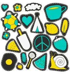 Neon stickers and embroidery patches collection vector