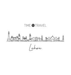 one continuous line drawing lahore city vector image