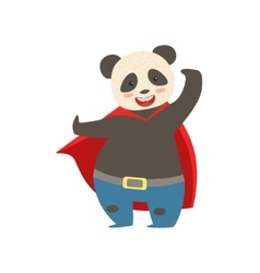 Panda Bear Animal Dressed As Superhero With A Cape vector