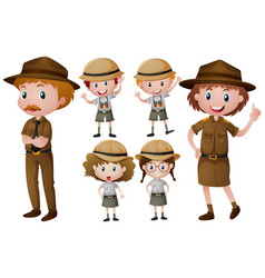 park rangers in uniform vector image