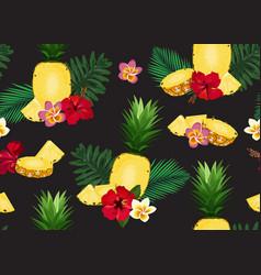 pineapple seamless pattern in longitudinal vector image