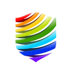 rainbow fountain modern shield symbol logo design vector image