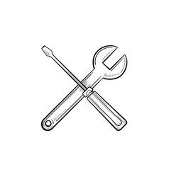 repair tools hand drawn outline doodle icon vector image
