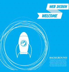 rocket icon on a blue background with abstract vector image
