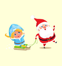 santa carry snow maiden on sleigh character vector image
