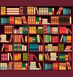 Seamless pattern bookshelves vector
