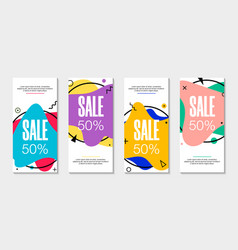 Set 4 abstract modern graphic liquid banners vector
