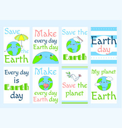set of earth day labels vector image