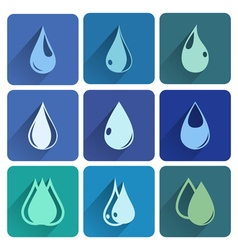Set of icons with water drops vector