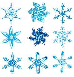 Set of nine snowflakes on white vector image