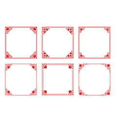 set of red square frames with hearts flourishes vector image