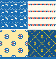 set of seamless background nautical theme vector image