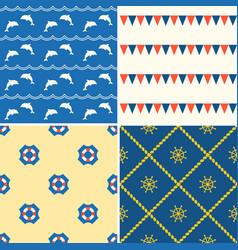 Set of seamless background nautical theme vector
