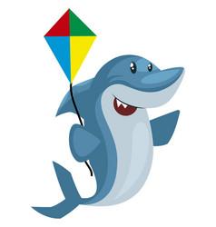 Shark with flying kite on white background vector