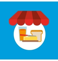 Shopping online breakfast food vector
