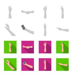 Sign language monochromeflat icons in set vector