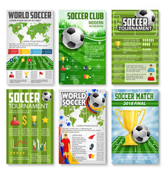 Soccer or football tournament 3d banner with ball vector