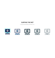 Surfing net icon in different style two vector